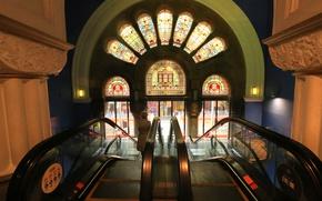 Обои эскалатор, Здание Королевы Виктории, витражи, Австралия, Сидней