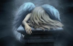 Обои грусть, настроение, волосы, крылья, ангел