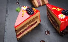 Картинка шоколад, украшение, пирожное, крем, десерт, глазурь, желе