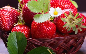 Картинка клубника, ягода, корзинка, вкусная, сочная