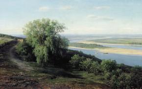 Картинка пейзаж, река, картина, Волга под Симбирском, Михаил Клодт