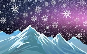 Картинка Зима, Минимализм, Горы, Снег, Новый Год, Рождество, Фон, Праздник, Настроение
