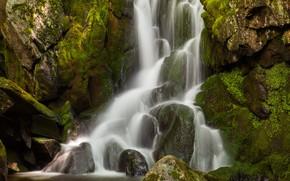 Картинка вода, скала, водопад