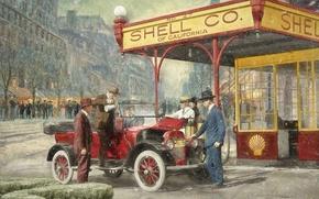 Обои город, ретро, люди, автомобиль, бензоколонка, 1920, Shell Station