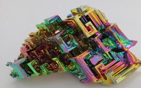 Картинка кристалл, металл, серый фон, висмут, игра цвета, металлический блеск, текстура металла