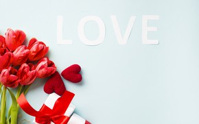 Картинка любовь, праздник, Love, букет, сердечки, тюльпаны, Valentine's day, presents