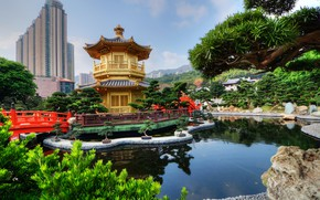 Картинка зелень, небо, облака, деревья, город, пруд, парк, камни, дома, Гонконг, Китай, пагода, мостики, кусты, Nan …