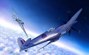 Картинка истребитель, art, британский, Junkers, RAF, Luftwaffe, средний, Вторая Мировая война, Supermarine, Князь, WWII, Высотный бомбардировщик, ...