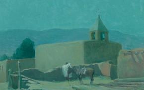 Картинка лошадь, храм, Oscar Edmund Berninghaus, Old Mission at Taos