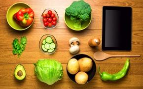 Обои зелень, стол, грибы, чашки, перец, планшет, овощи, помидоры, капуста, вид сверху, огурцы, картошка