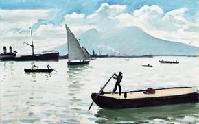 Картинка лодка, корабль, гора, картина, парус, Albert Marquet, Альбер Марке, Неаполитанский Залив
