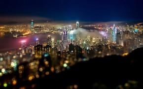 Картинка China, небоскребы, залив, боке, Hong Kong, огни ночного города