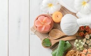 Обои Спа, цветы, мешочек, мыло, плюмерия