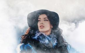 Картинка зима, взгляд, девушка, снег, портрет, шляпка