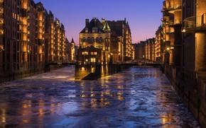 Картинка вода, огни, река, дома, лёд, вечер, Германия, канал, мосты, Гамбург