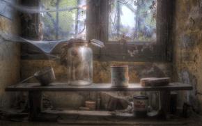 Картинка паутина, окно, банки