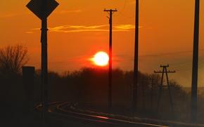 Картинка небо, солнце, закат, железная дорога, sunshine, sunset, railway, moldova