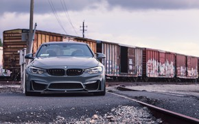 Картинка BMW, Front, F82, Sight, Graphite, Railway station, Railroad tracks