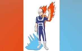 Картинка лед, огонь, парень, Boku No Hero Academia, Тодороки Шото, Моя геройская акадеимя