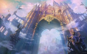 Обои Shuxing Li, The Gate of Angels, арка, статуи