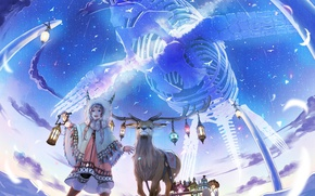 Картинка небо, девушка, звезды, облака, радость, птицы, аниме, олень, арт, кит, фонари, скелет, рога, сани, kirinosuke