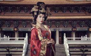 Картинка стиль, фон, восточная девушка