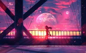 Картинка небо, девушка, космос, мост, планета, киты, by ryky
