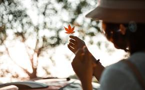 Картинка осень, девушка, лист