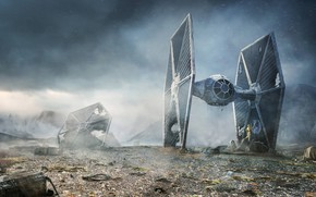 Обои C-3PO, Star Wars, Rebel Droids, Lee Rouse, TIE fighter, R2-D2