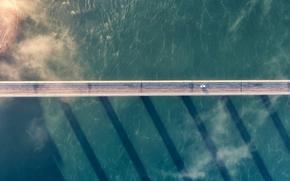 Обои car, sea, clouds, shadows, bridge