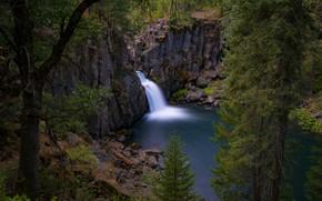 Картинка деревья, озеро, скалы, водопад, Калифорния, California, Upper McCloud Falls, McCloud River, Река Мак-Клауд