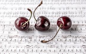 Картинка вишня, ягоды, ноты