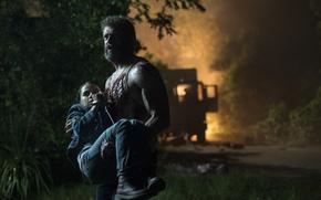 Картинка cinema, fire, flame, girl, blood, Wolverine, Hugh Jackman, X-Men, Logan, man, Marvel, hero, film, Laura, ...