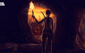 Картинка девушка, огонь, рисунок, лук, арт, факел, Tomb Raider, пещера, Лара Крофт, Lara Croft