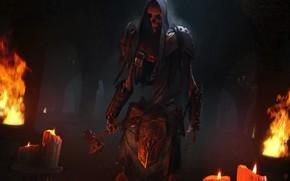 Картинка ночь, огонь, свечи, скелет, тапор, The Elder Scrolls Legends