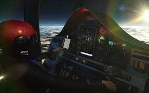 Картинка управление, приборы, пилот, салон, Cockpit