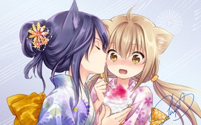 Картинка девочки, поцелуй, аниме