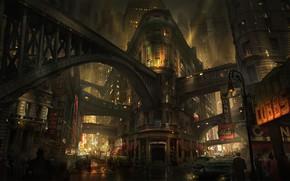 Картинка город, люди, транспорт, улицы, Noir City