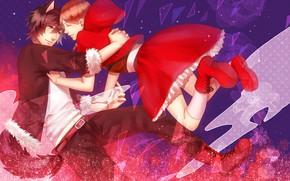 Картинка девушка, волк, арт, парень, Red Riding Hood, Красная шапочка, Big Bad Wolf