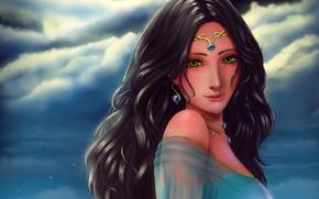 Картинка небо, взгляд, девушка, облака, украшения, волосы, аниме, арт, зеленые глаза