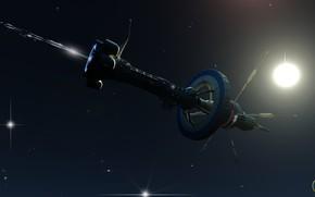 Картинка космос, корабль, звёзды, станция, Boreas on the way
