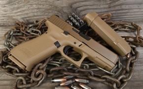 Картинка пистолет, цепь, Glock 19X