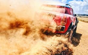 Картинка Песок, Авто, Mini, Пыль, Спорт, Машина, Скорость, Камни, Гонка, Занос, Rally, Внедорожник, Ралли, X-Raid Team, ...