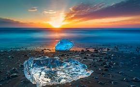 Обои море, берег, Исландия, лед, закат