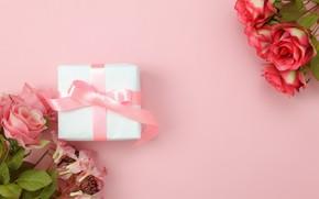 Обои любовь, фон, розовый, подарок, розы, букет, love, pink, romantic, hearts, valentine's day, gift, roses