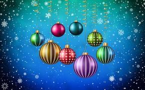Картинка Минимализм, Снег, Новый Год, Рождество, Шарики, Снежинки, Фон, Украшения, Праздник, Настроение