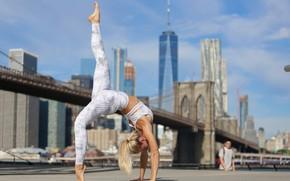 Картинка лето, девушка, фон, гибкость, йога, ножки, Beatrice