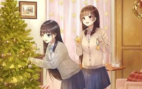 Картинка Девушки, Новый год, Аниме, Арт, Ёлка