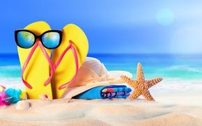 Картинка солнце, сланцы, summer, sand, море, песок, пляж, beach, vacation, очки, шляпа