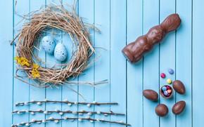 Картинка eggs, кролик, Пасха, bunny, wood, decoration, candy, Happy, spring, конфеты, chocolate, яйца, Easter, верба, шоколад, …